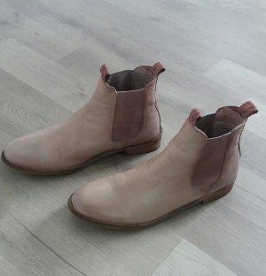 Botines Chelsea beige claro-rosa empolvado Cuero