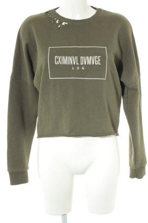 Criminal Damage Sweatshirt khaki Schriftzug gedruckt Casual-Look