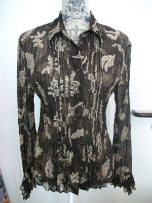 Crinkle Bluse, Gr. 36, dunkelbraun-natur-gold - leicht transparent