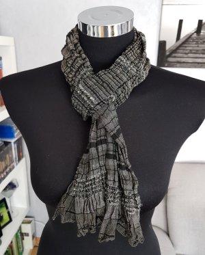 Crinkle leichter Schal schwarz-grau-Silber