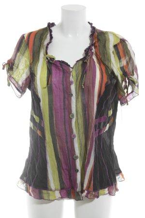 Crisca Kurzarm-Bluse Streifenmuster Elegant