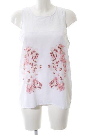 Cristina Effe ärmellose Bluse weiß-rot Blumenmuster Casual-Look