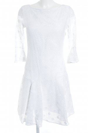 Cristina Effe Flounce Dress white loosely knitted pattern mesh look