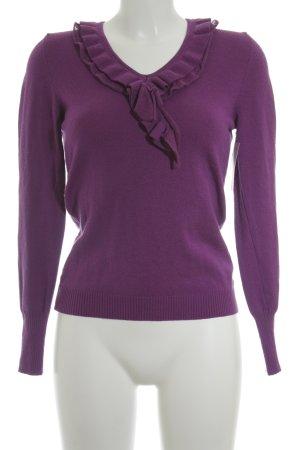 Cristina Mazonett V-Ausschnitt-Pullover violett Casual-Look