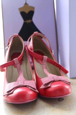 Escarpins Mary Jane rouge-blanc cuir
