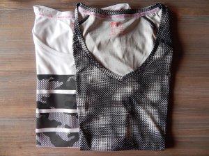 Crivit, Trainings-Funktions--Shirts im Doppelpack, 1xschw-we,1xweiß-Motiv,Gr. 44/46,neu