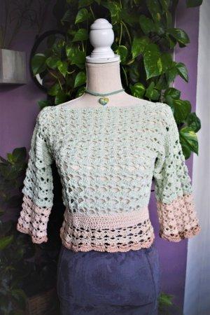 Crochet Bluse,Boho Minze hakel Top
