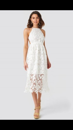 Crochet strap back midi dress weiß