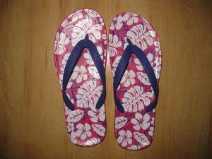 Crocs Zehentrenner Flip Flops Pink Flowers  W10 W11 40 41 42