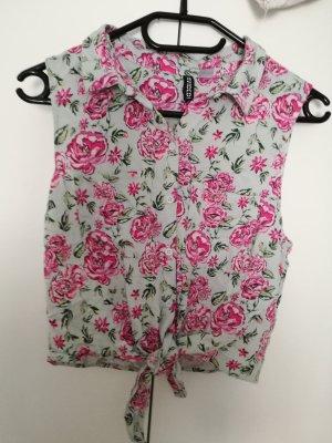 Crop Bluse, ärmellos mit Blumenmuster und Knoten