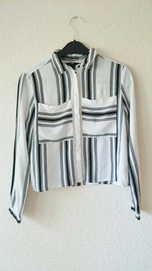 Crop Bluse Hemd gestreift schwarz weiß 34 XS