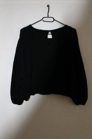 Crop-Bluse in schwarz mit weiten Ärmeln