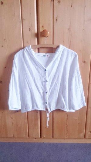 Crop Cardigan Überzieher Hoodie Hemd kurz weiß onesize