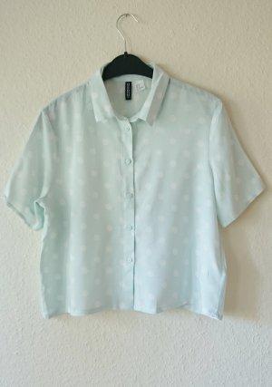 Crop Hemd Bluse Punkte blau türkis weiß 38 S
