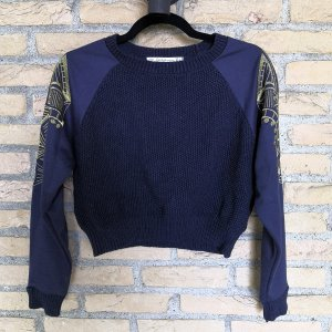 Cropped Shirt gold-colored-dark blue