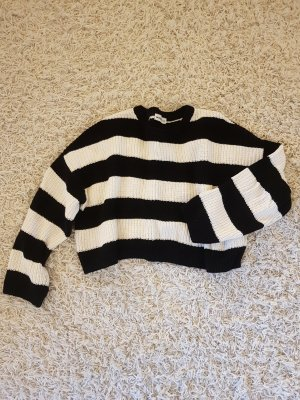 24Colours Knitted Sweater white-black cotton