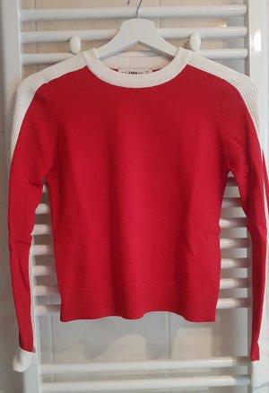 Zara Knit Cropped top wit-rood