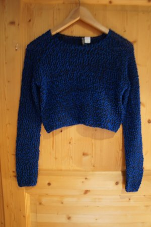 Crop Pullover blau schwarz H&M Größe XS