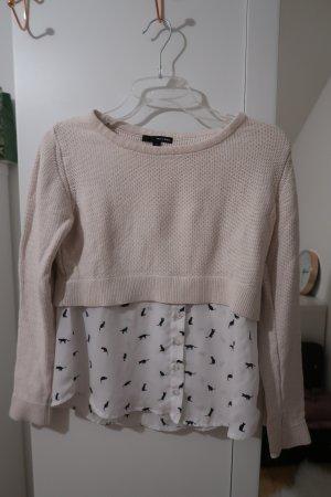 Crop Pullover mit angenähter Bluse