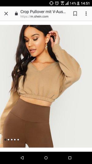 SheIn Cropped shirt beige-camel