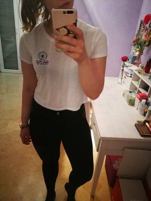 Pull & Bear Cropped Shirt white