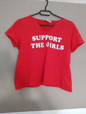 FB Sister Cropped shirt wit-rood Katoen