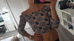 Cropped shirt wit-azuur
