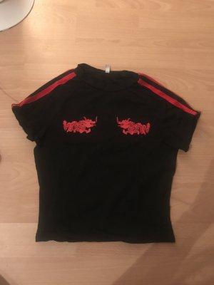 Camisa recortada negro-rojo oscuro