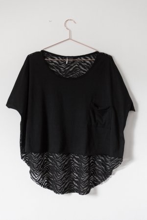 Crop-Shirt mit langem, transparentem Rücken