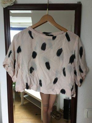 Crop Shirt nude mit Muster