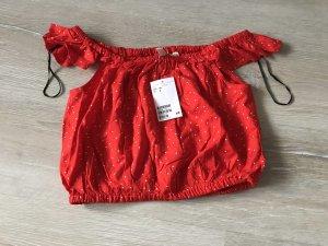 H&M T-shirt court blanc-rouge