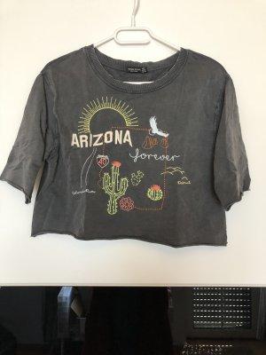 Bershka Cropped Shirt grey-dark grey