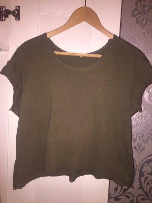 Zara Trafaluc Camisa recortada gris verdoso-caqui