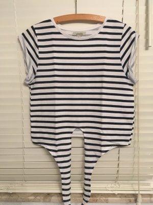 Zara T-shirt court blanc-bleu foncé coton