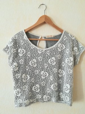Urban Outfitters Cropped top zilver-wit Katoen