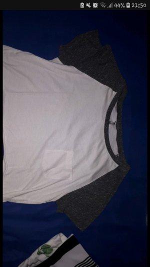 H&M Top corto bianco-grigio scuro