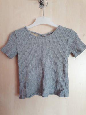 Romwe Cropped Shirt light grey-grey