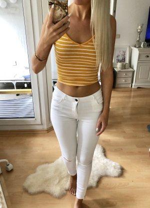 Bershka Cropped Top yellow-white