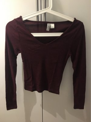 H&M Divided Camicia cropped bordeaux