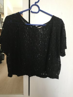 H&M Cropped shirt zwart