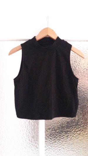 Crop Top aus T-Shirtstoff mit Stehkragen