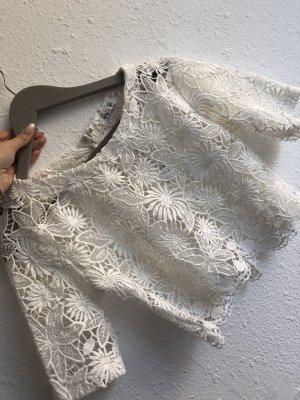 Glamorous Cropped shirt wit-wolwit Gemengd weefsel