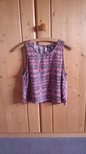 Crop Top Bluse gemustert bunt 34 36 XS S