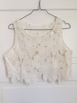 Crop Top Croptop Weiß Cremeweiß Blumen Floral Top Shirt Oberteil kurz