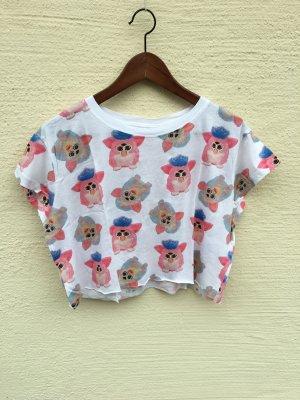 H&M T-shirt court blanc-rose
