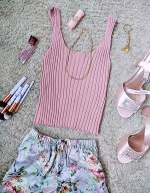 Crop Top gerippt rosa