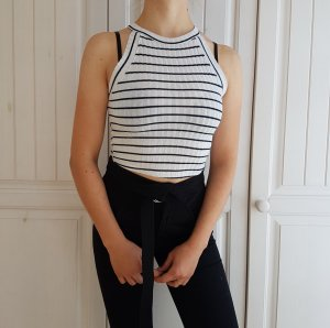 Crop Top Gestreift T-Shirt Shirt Neckholder Weiß Schwarz