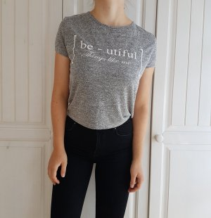 Crop Top Grau T-Shirt Beautiful Oberteil Bluse hemd shirt tshirt croptop