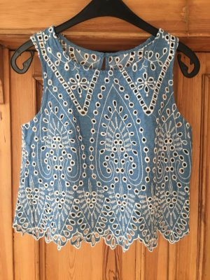 H&M Top corto bianco-blu fiordaliso