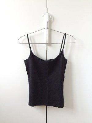 Crop Top mit Leder Detail schwarz